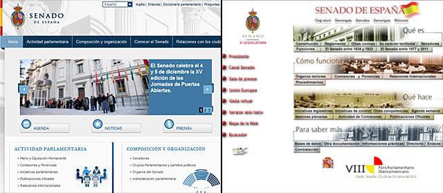 Nueva imagen de la web del Senado (i) comparada con la actual (d).